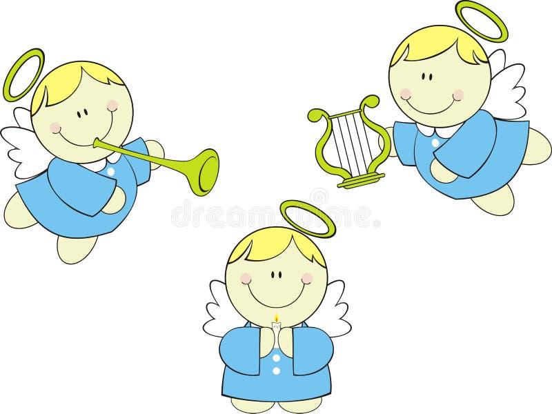 Cute cherubs set vector illustration