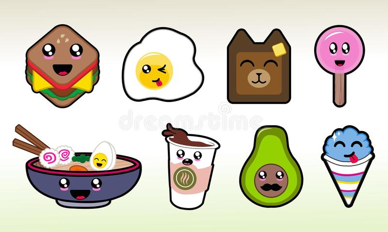 Cute Chibi Food Items Vector Art for Planner Sticker Sheets and More vector illustration
