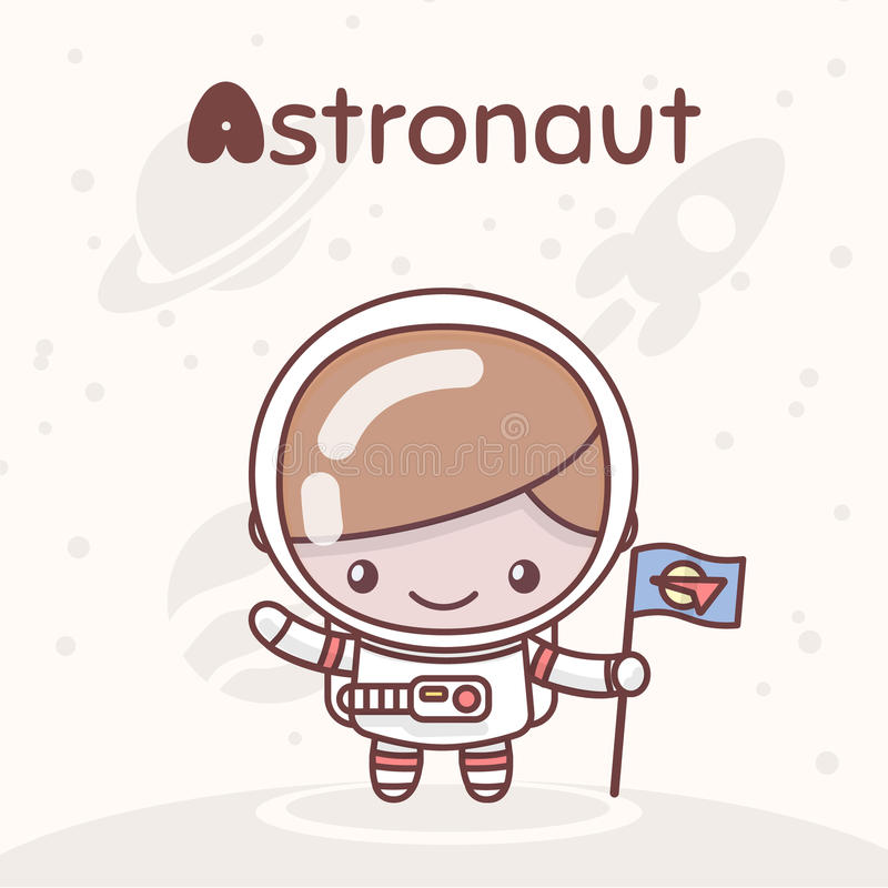 Cute chibi kawaii characters. Alphabet professions. Letter A - Astronaut stock illustration