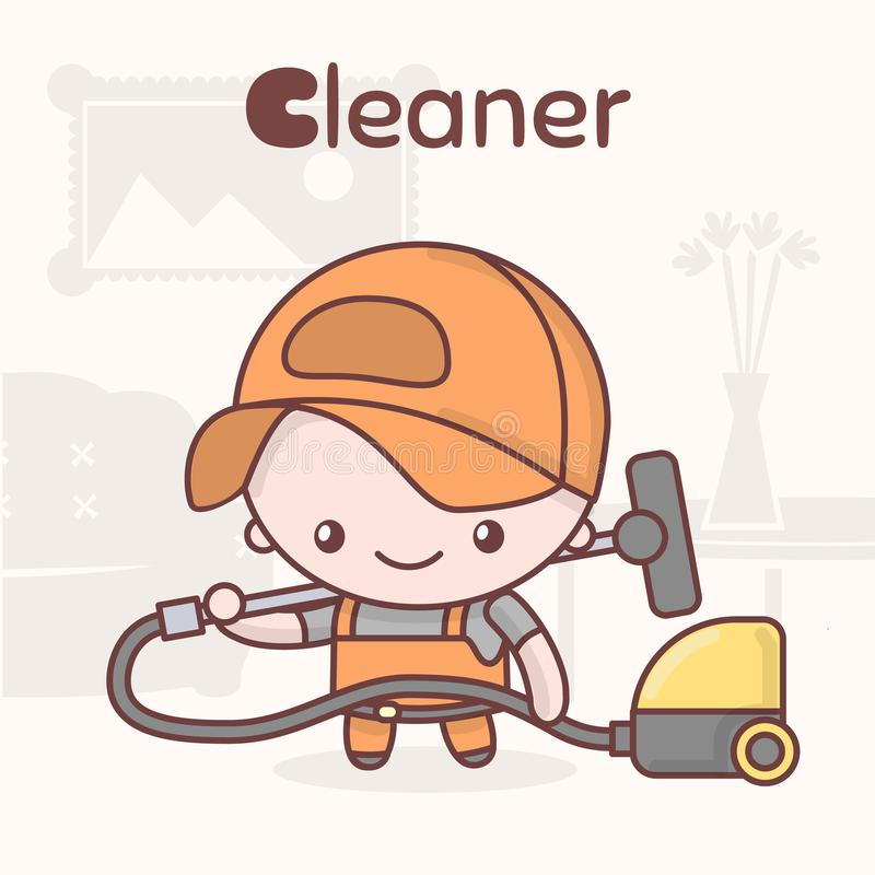 Cute chibi kawaii characters. Alphabet professions. The Letter C - Cleaner. vector illustration