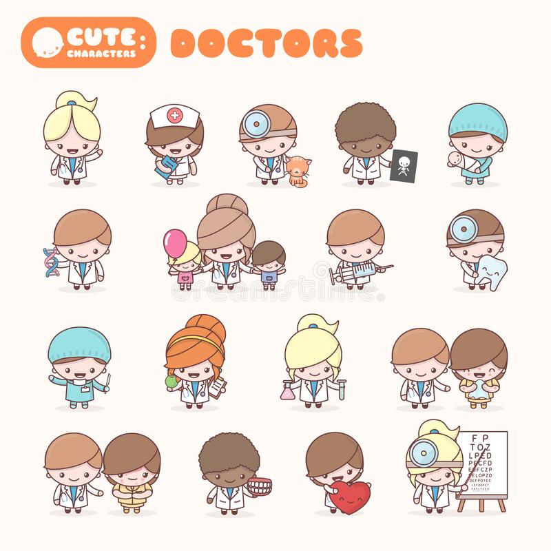 Cute chibi kawaii characters profession set: Doctors. royalty free illustration