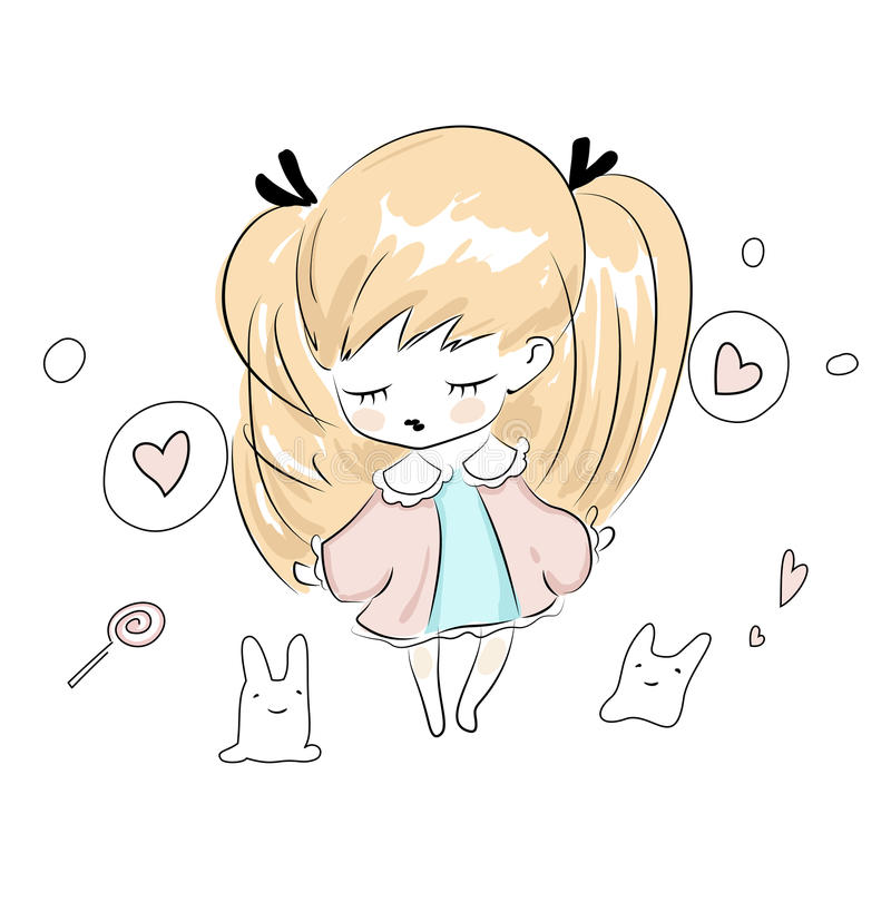 Cute chibi little girl plays with her toys stock illustration