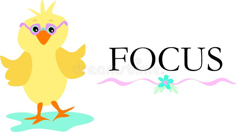 Cute Chick With Glasses And The Word Focus Royalty Free Stock Photos