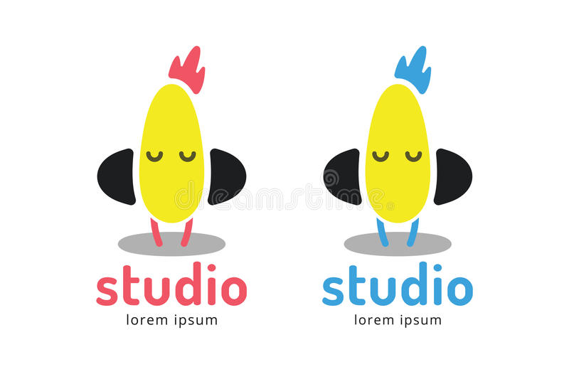 Cute chick silhouette logo icon. Chicken music stock illustration