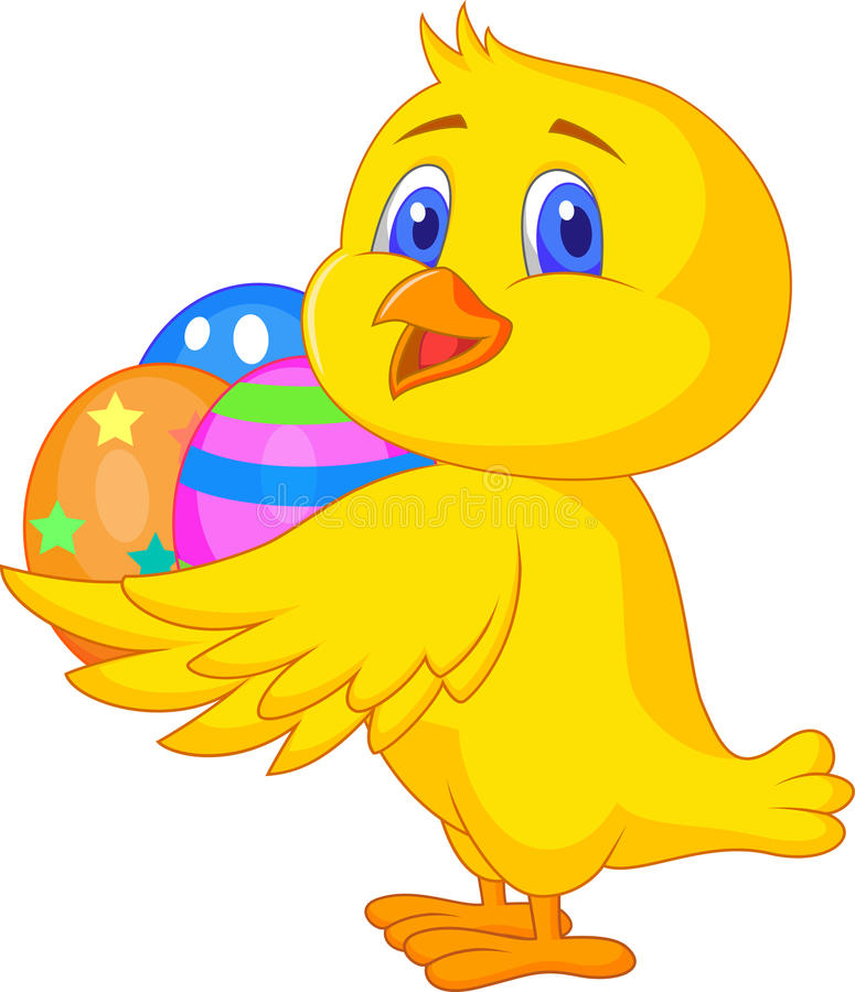 Cute chicken cartoon with easter egg stock illustration