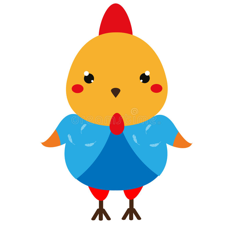 Cute chicken. Cartoon kawaii rooster character. Vector illustration for kids and babies fashion.  royalty free illustration