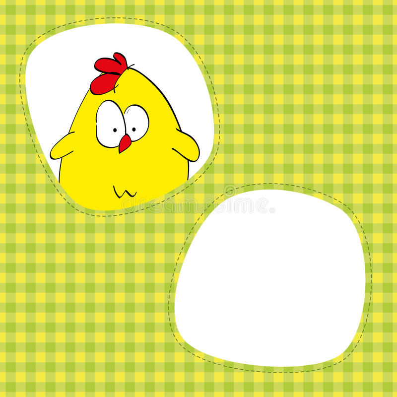 Cute chicken in the window royalty free illustration