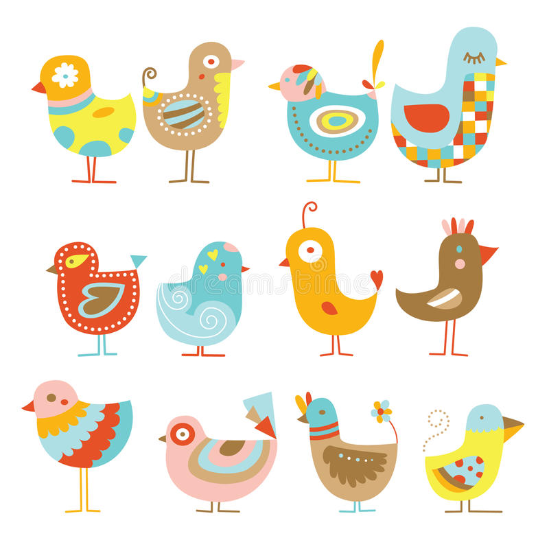 Cute chickens. Collection of cute, colorful chickens illustrations