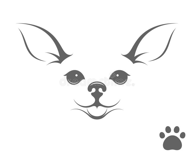 Cute chihuahua dog. Happy puppy with paw print. Cute chihuahua dog. Vector illustration (EPS vector illustration