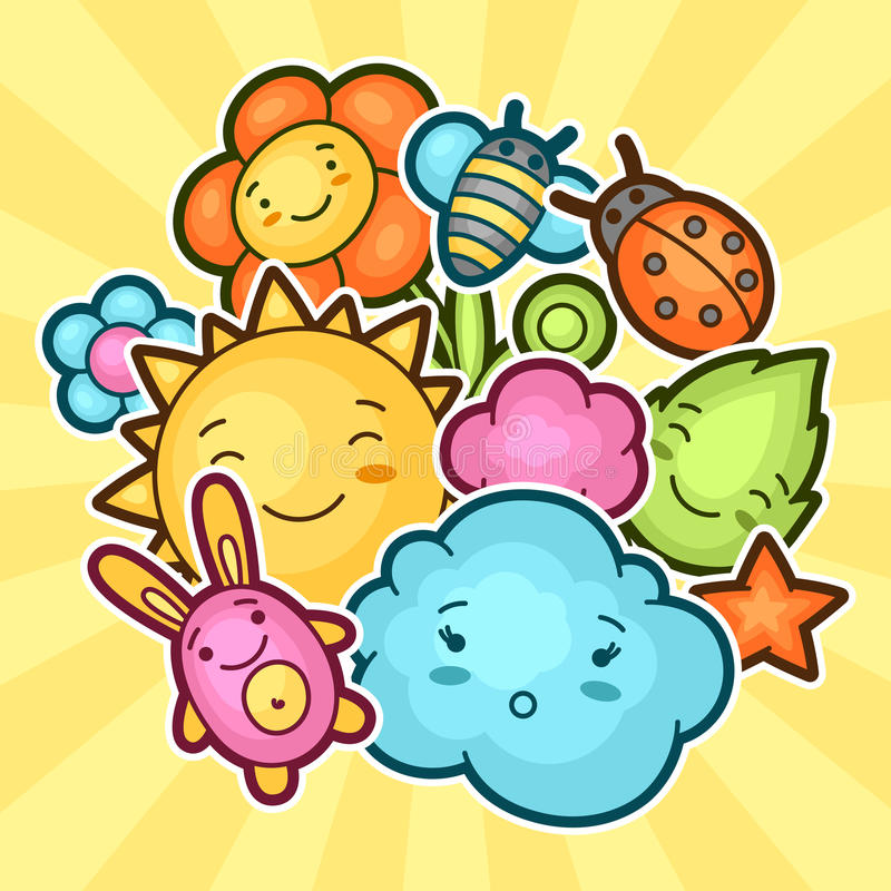 Cute Child Background With Kawaii Doodles. Spring