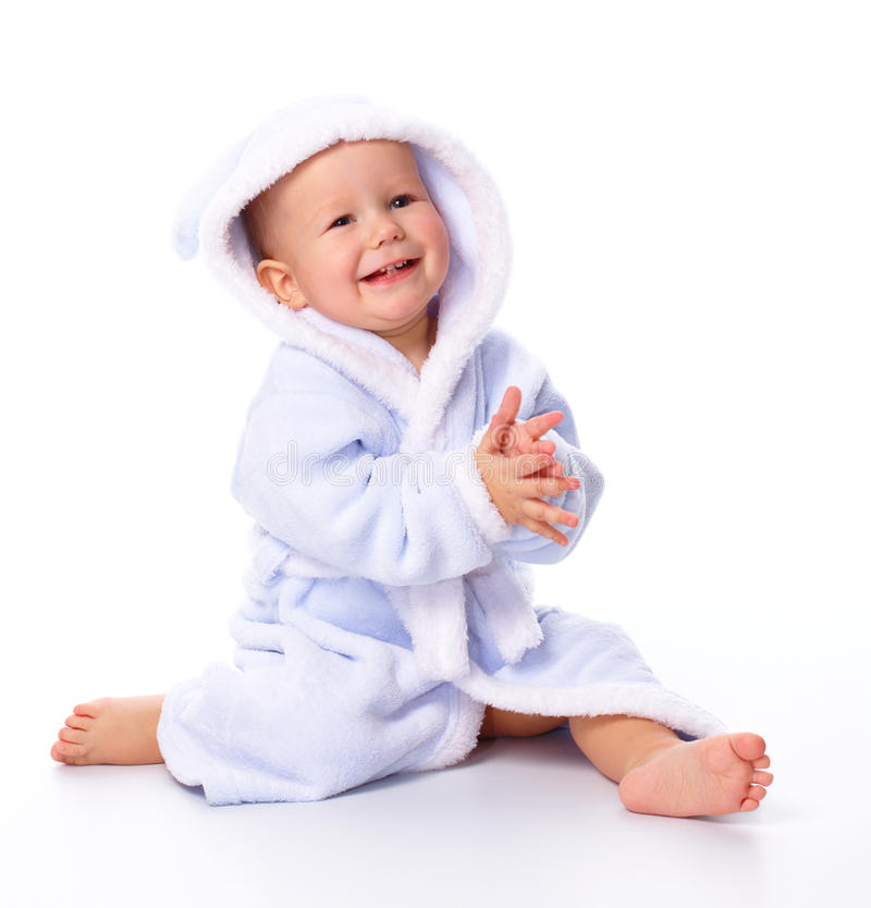 Cute child in bathrobe royalty free stock images