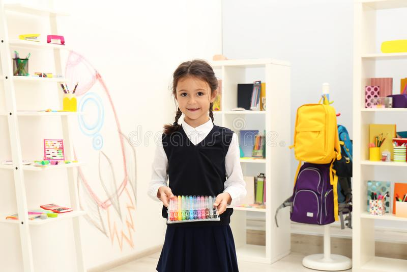 Cute child choosing school stationery royalty free stock photo