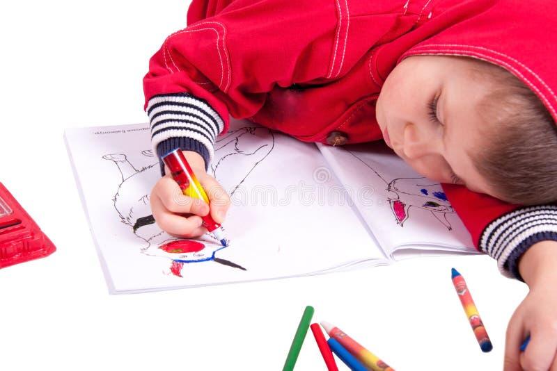 Cute child draw stock photo