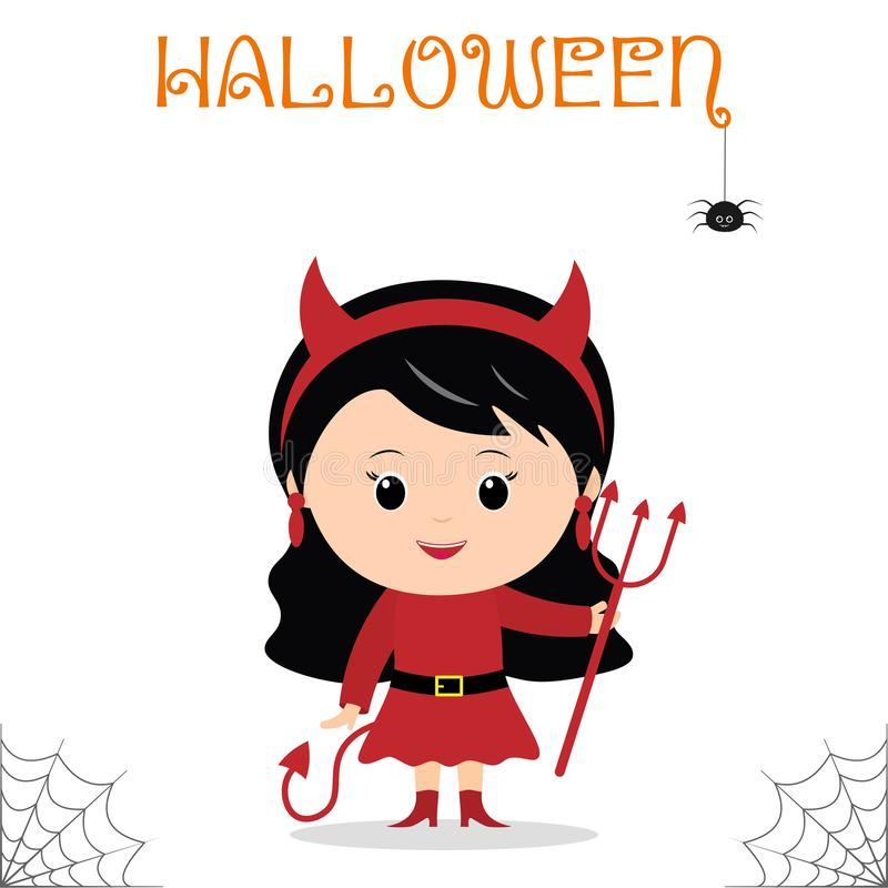Cute child dressed in devil costume with a trident and tail celebrating at a Halloween party isolated on a white background. stock illustration