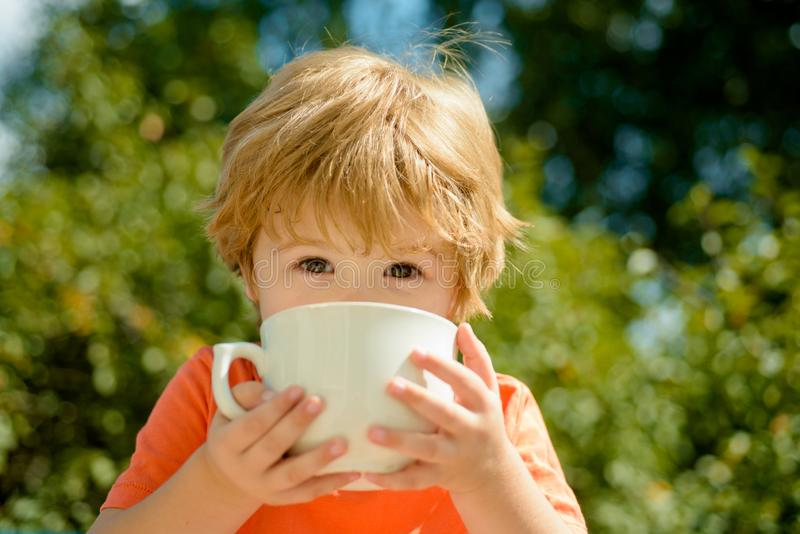Cute child drinks milk. Healthy food and drink for children. Summer drinks. Baby boy and hot summer holidays. stock photo