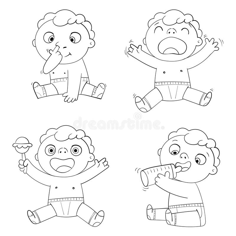 Cute Child is eating milk from a bottle. Kid plays with a rattle and laughs. Baby sobs. Little boy picks his nose. Funny cartoon character. Vector illustration vector illustration