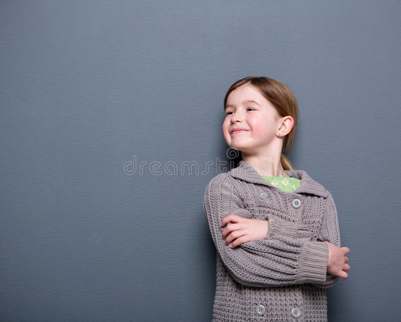 Cute child of elementary age smiling stock photography