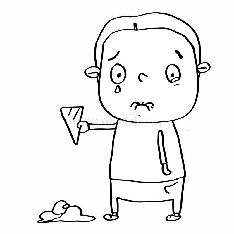 cute child falling in the ice cream and crying and coloring royalty free illustration