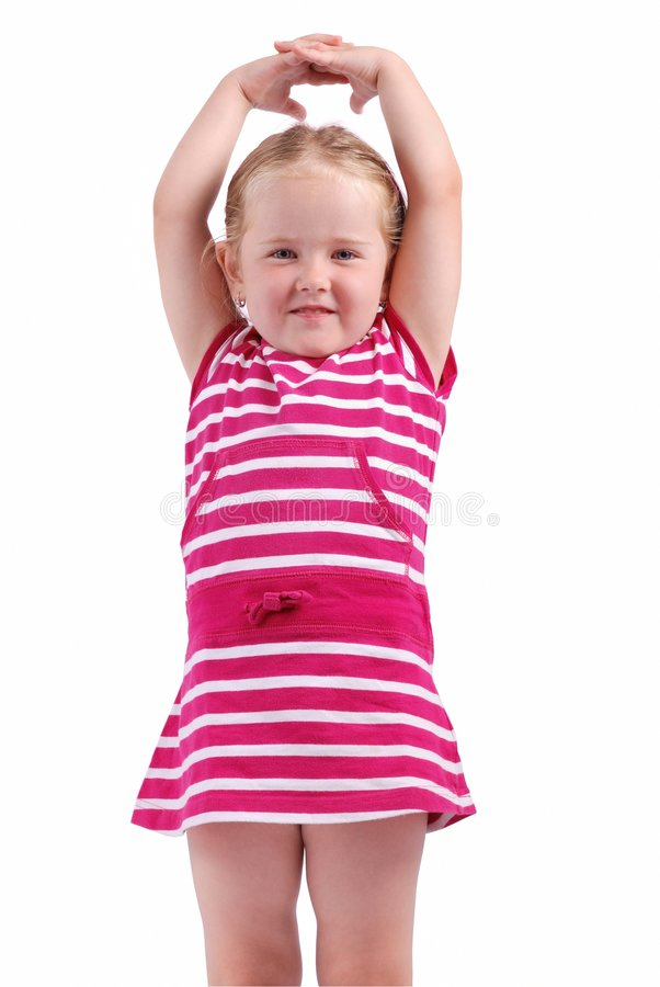 Cute child with hands up on white stock images
