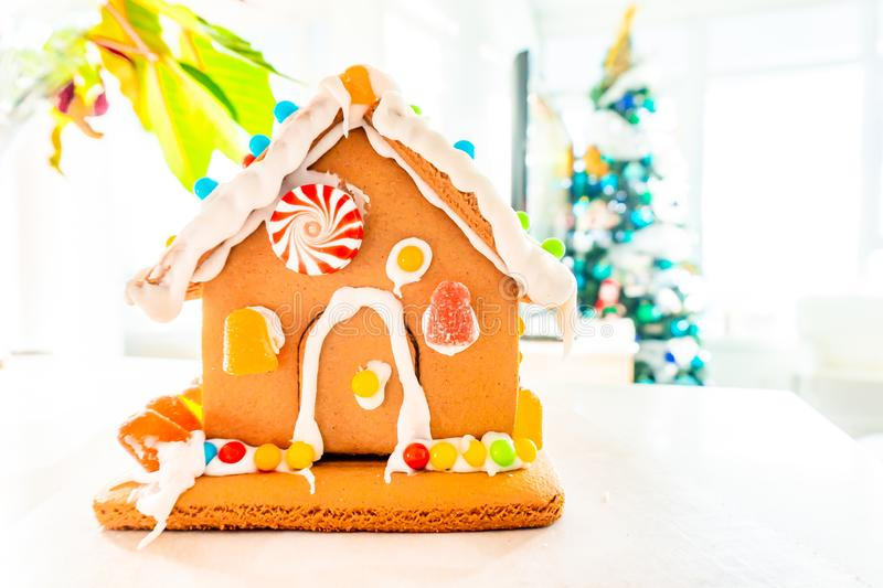 Cute, child-made gingerbread house, with imperfections a real gingerbread house assembly, for the Christmas holiday season, as a. Decoration. Classic holiday stock photos