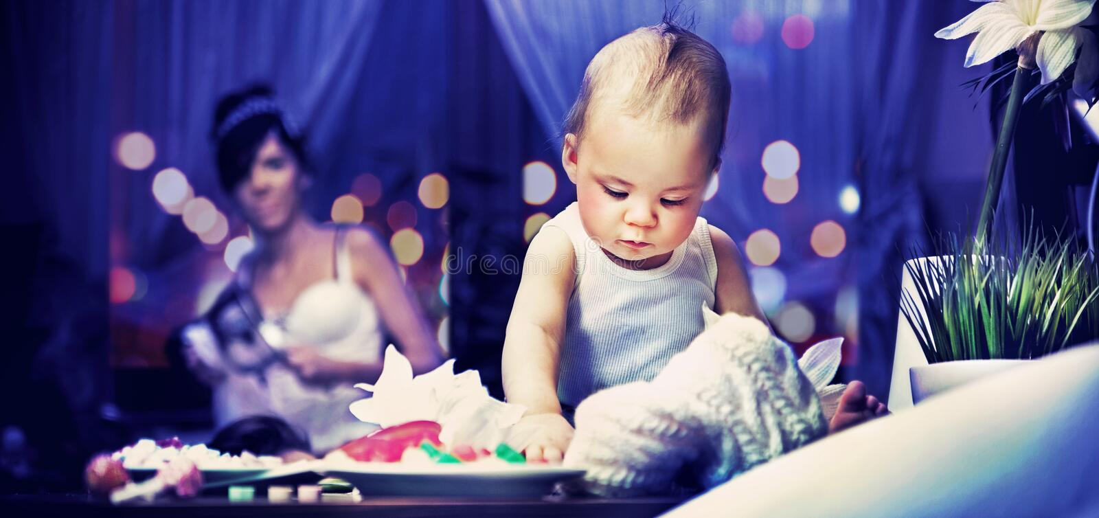 Download Cute Child And Mum In Kitchen Royalty Free Stock Photos - Image: 24156048