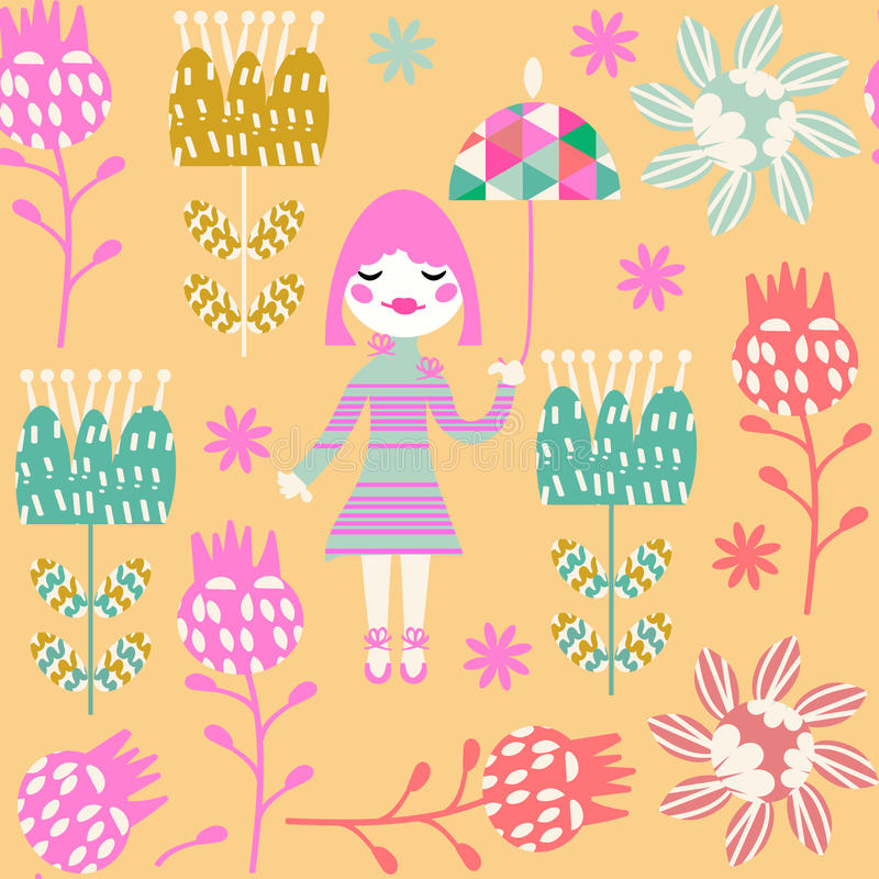 Cute child seamless pattern with little girl and seamless patter vector illustration