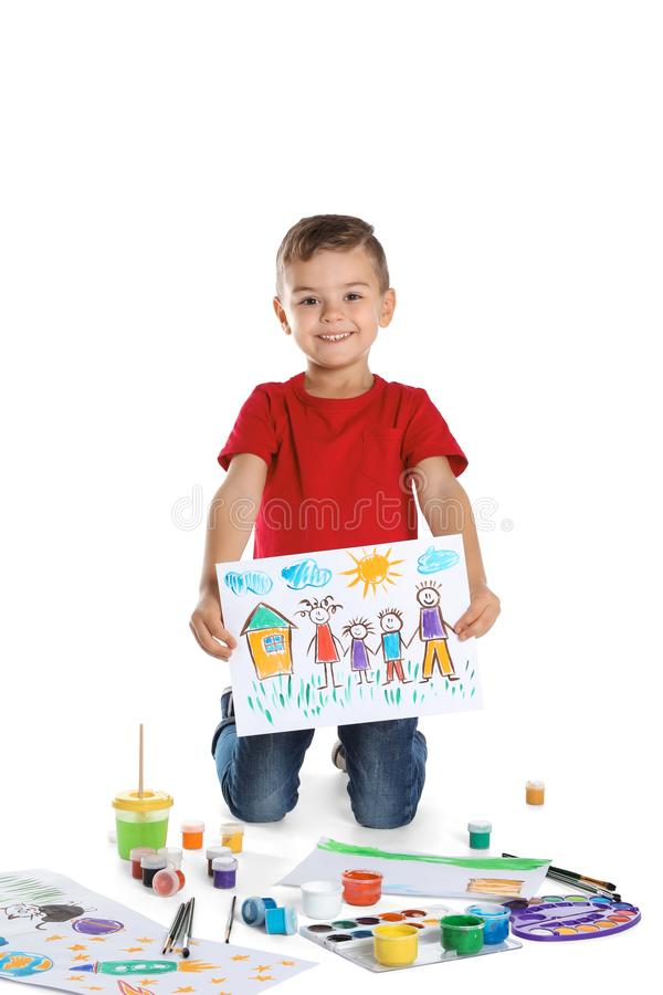 Cute child showing his painting royalty free stock images