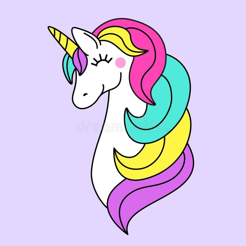 Cute childish cartoon character as magic rainbow hair