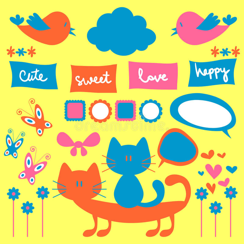 Download Cute childish elements stock vector. Image of drawing - 25423067
