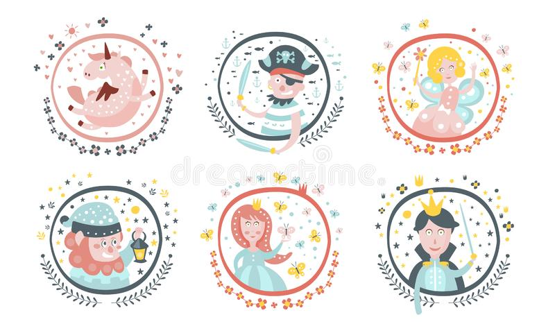 Cute Childish Fairy Tale Cartoon Characters Set, Adorable Unicorn, Fairy, Pirate, Gnome, Sorceress, Princess, Decoration. Design Elements Vector Illustration on stock illustration