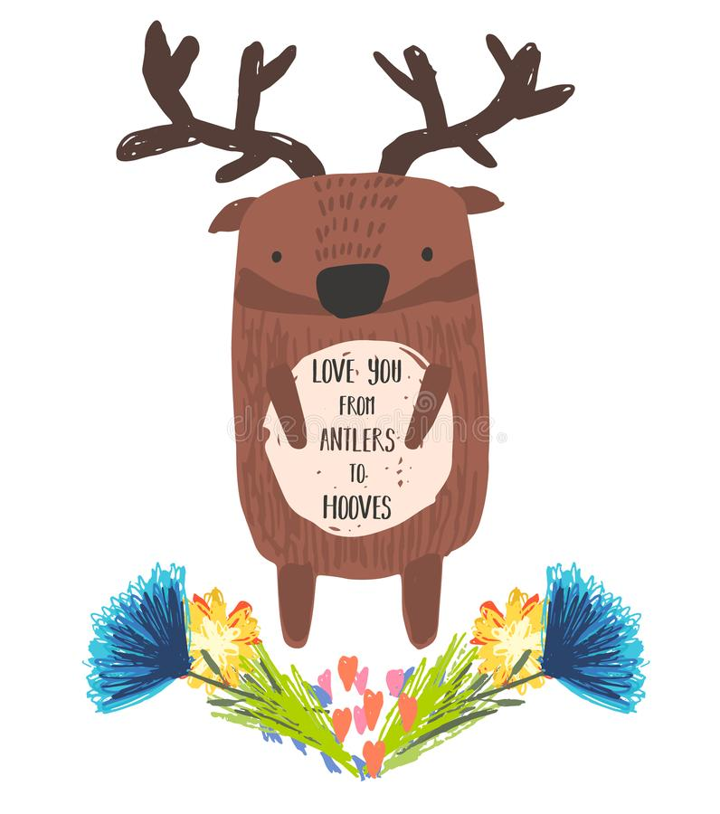 Cute childish hand drawn deer and flowers. Cute childish hand drawn brown deer with antlers and floral wreath isolated on white background. Kids sketchy elk royalty free illustration