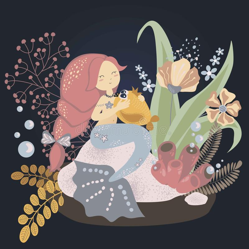 Cute childish illustration: little mermaid with a fish. Vector graphics vector illustration