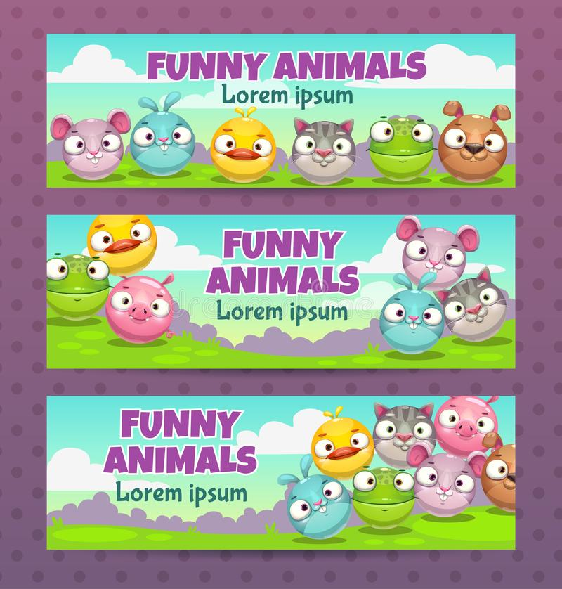 Cute childish illustration set. Horizontal banners with funny cartoon round animals. stock illustration