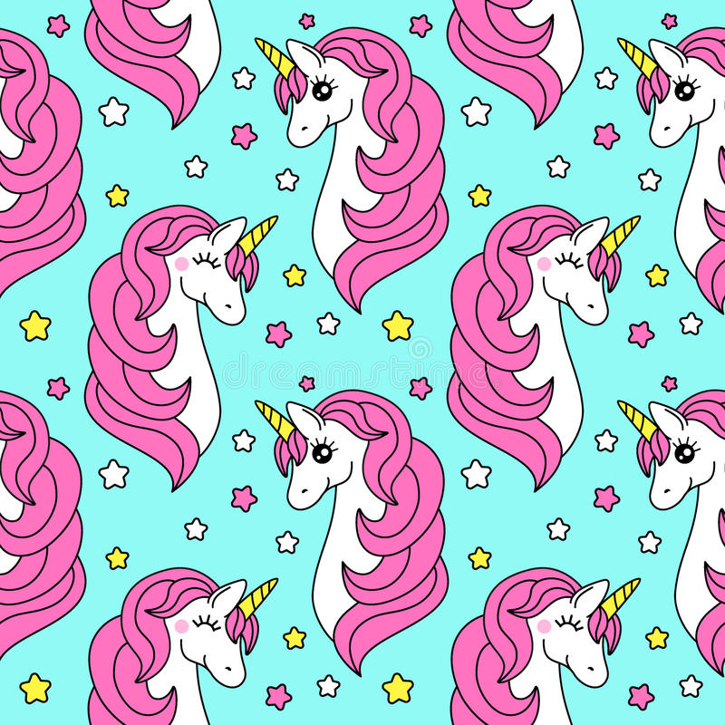 Cute childish seamless pattern with cartoon character of magic unicorn vector illustration