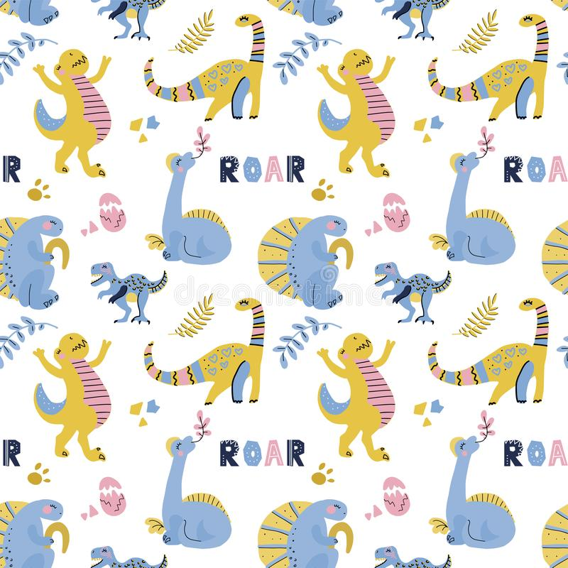 Cute childish seamless vector pattern with dinosaurs with eggs, decor and words dino. Funny cartoon dino. Hand drawn doodle design. Cute childish seamless vector stock images