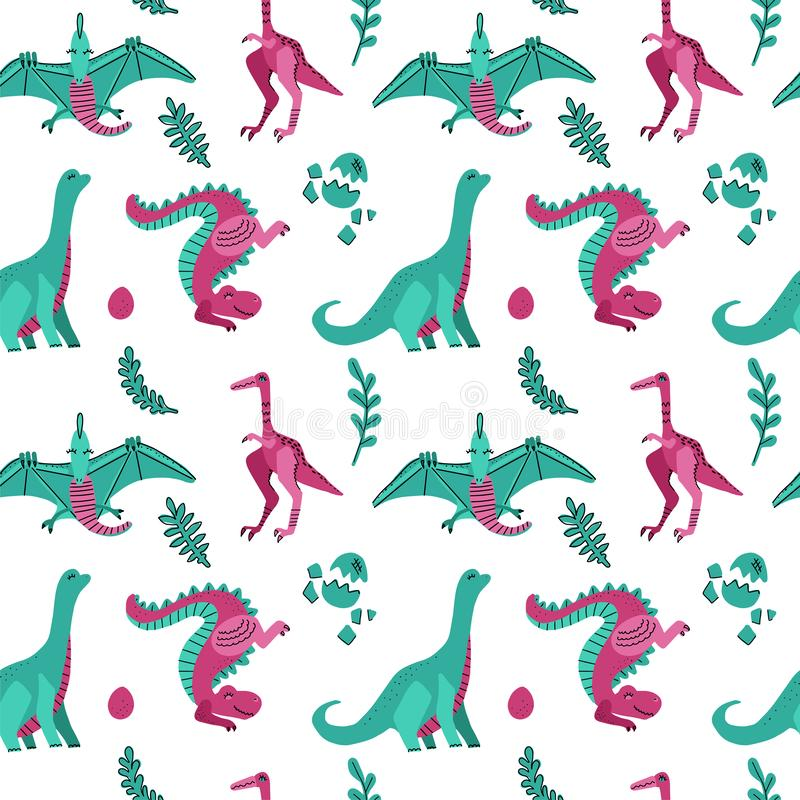 Cute childish seamless vector pattern with dinosaurs with eggs, plants. Funny cartoon dinos on white background. Hand drawn doodle stock illustration