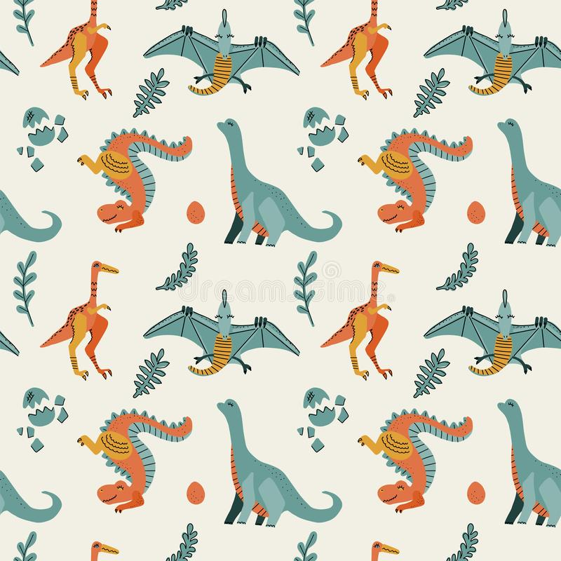 Cute childish seamless vector pattern with dinosaurs t-rex with eggs, decor. Funny cartoon dino pterodactyl. Hand drawn doodle stock photos