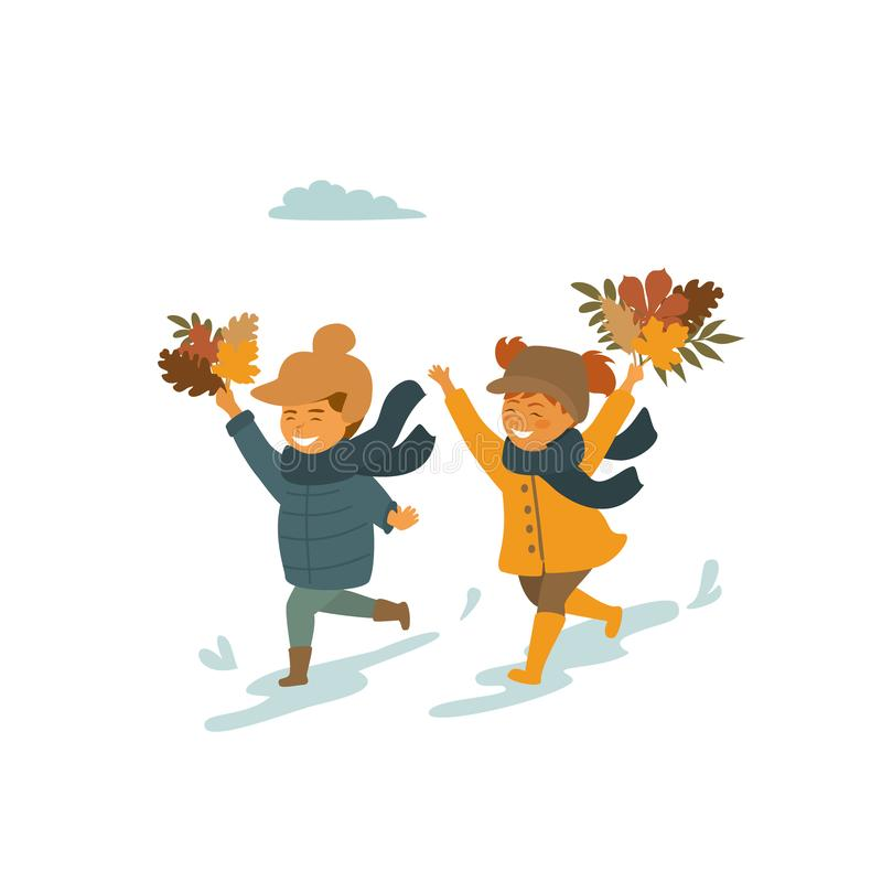 Cute children, boy and girl running with autumn fall leaves in the park isolated vector illustration royalty free illustration