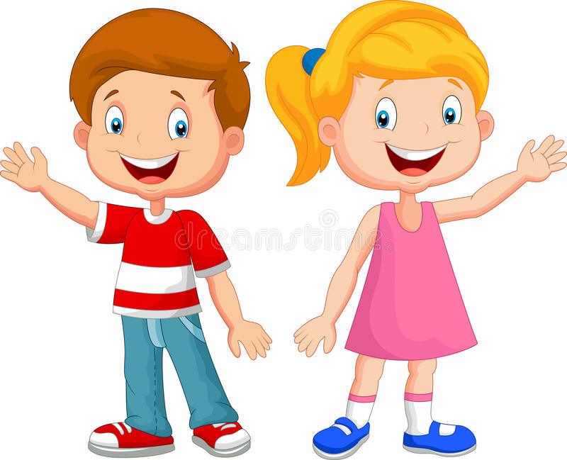 Cute children cartoon waving hand royalty free illustration