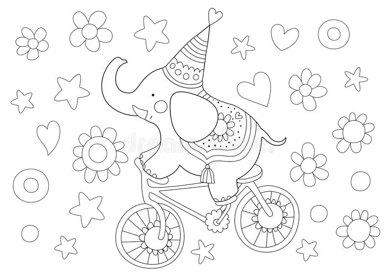 Cute Children Coloring Page With Elephant Stock Illustration