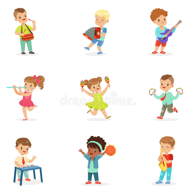 Free Cute Children Dancing And Playing Musical Instruments, Set For Label Design. Cartoon Detailed Colorful Illustrations Royalty Free Stock Image - 89840346