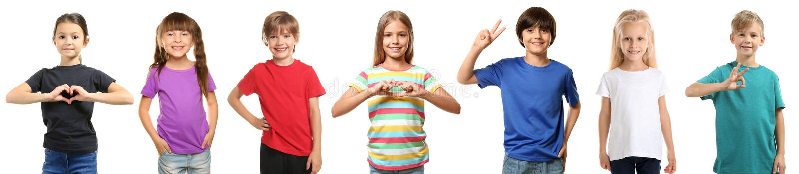 Cute children in different t-shirts on white background royalty free stock images