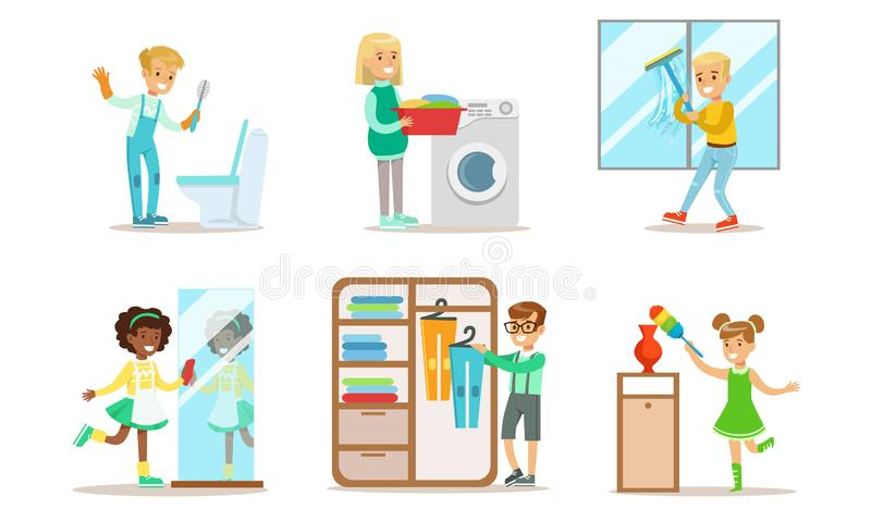 Cute Children Doing Housework Set, Boys and Girls Cleaning Windows, Folding Clothes, Loading Laundry to Washing Machine royalty free illustration