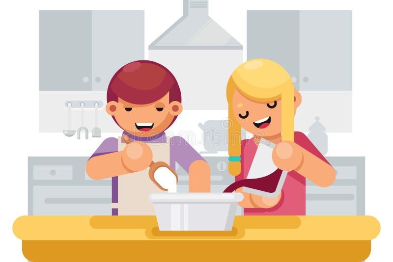 Cute Children Girl Boy Cook Cooking Kitchen Background Flat Design Vector Illustration stock illustration