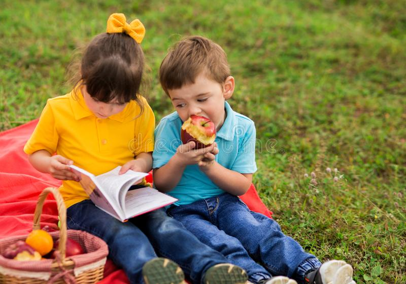 Cute children - a girl in yellow and a boy in blue t-shirts with interest reading a book, eating apples, sitting on a red blanket royalty free stock images