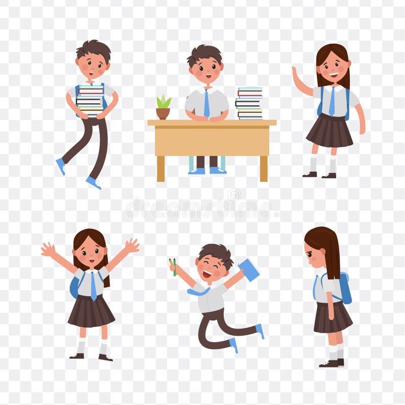 Cute children go to school, student with a bag. Cute children go to school. A student with a bag, books, pencils returns to school. Set of cute school kids. big stock illustration