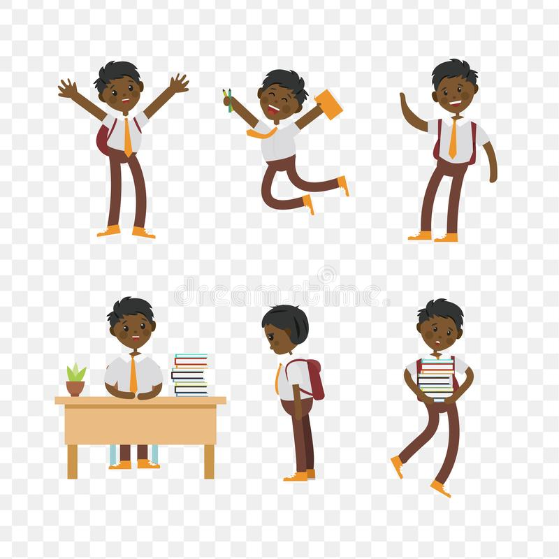 Cute children go to school, student with a bag. Cute children go to school. A student with a bag, books, pencils returns to school. Set of cute school kids. Set stock illustration