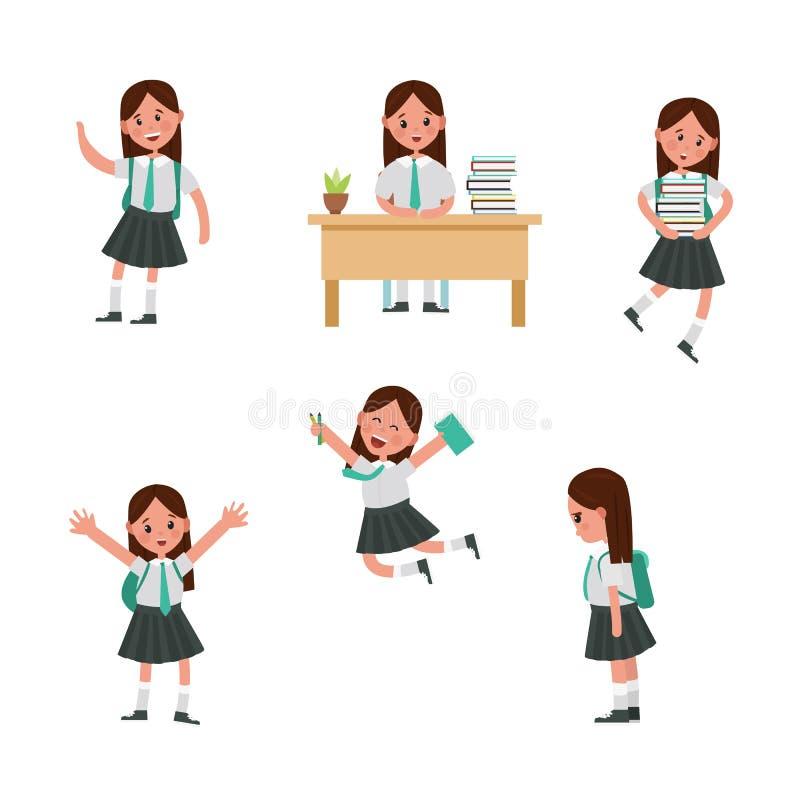 Cute children go to school, student with a bag. Cute children go to school. A student with a bag, books, pencils returns to school. Set of cute school kids. Set vector illustration