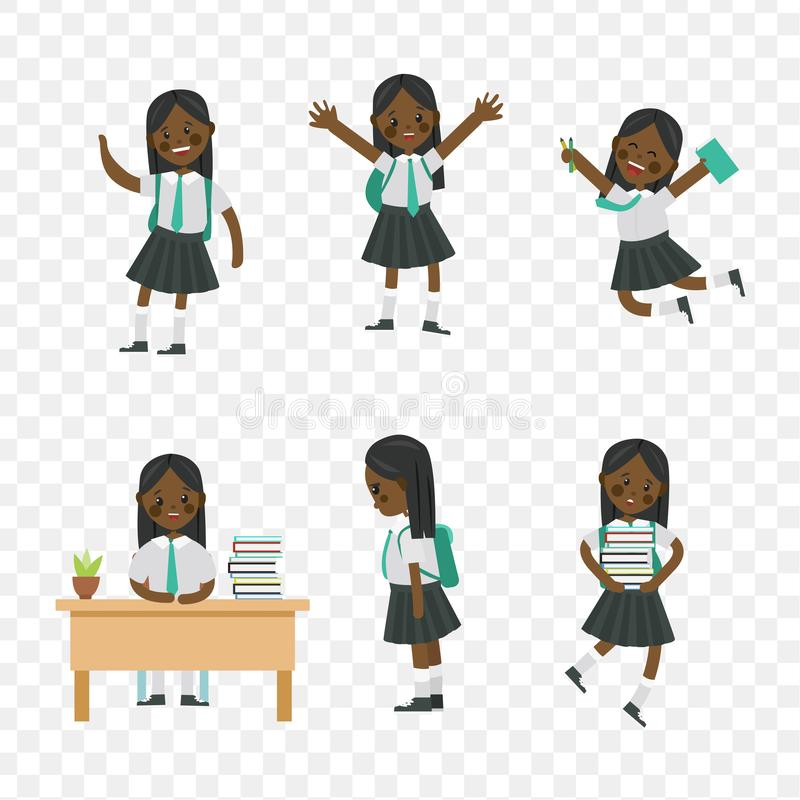 Cute children go to school, student with a bag. Cute children go to school. A student with a bag, books, pencils returns to school. Set of cute school kids. Set royalty free illustration