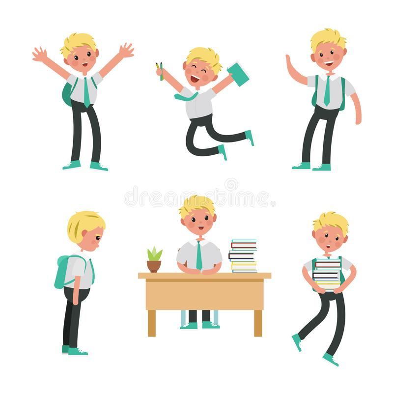 Cute children go to school, student with a bag stock illustration